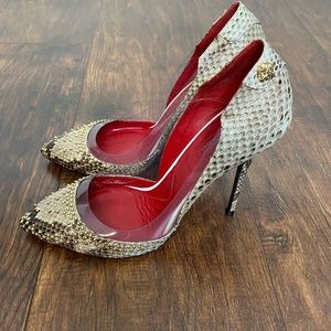 Cesare Paciotti Snakeskin and Lucite Studded Pumps